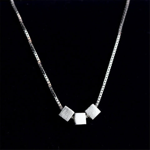 3 Block 925 Sterling Silver Necklace