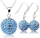 Shamballa Necklace + Earrings Set in 925 Sterling Silver - 4 Color Choices