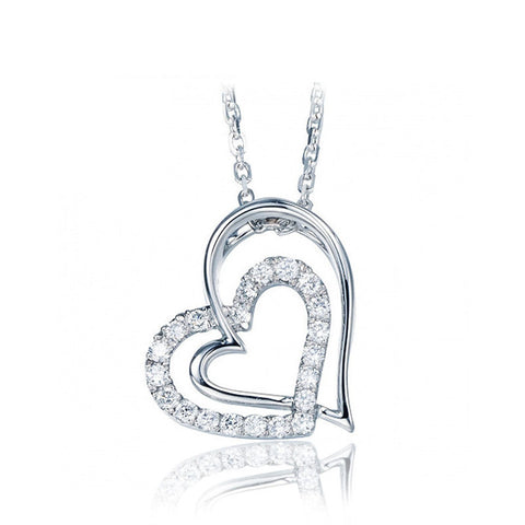 2 Hearts are Better than One 925 Sterling Silver Necklace