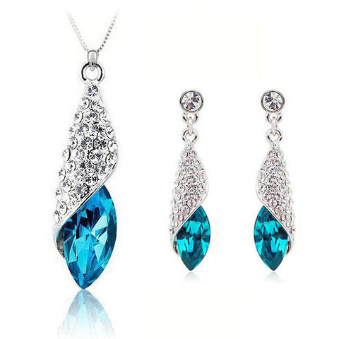 Blue Conch Necklace + Earrings Set in 925 Sterling Silver