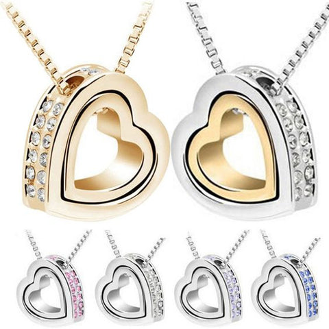 Heart in Heart Pendant Necklace in 6 color choices