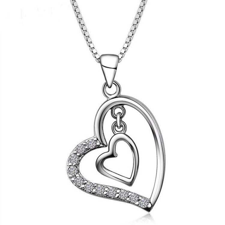 Heart in Heart 925 Sterling Silver Necklace