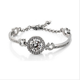 Round Crystal Zircon Bracelet in Silver or Gold