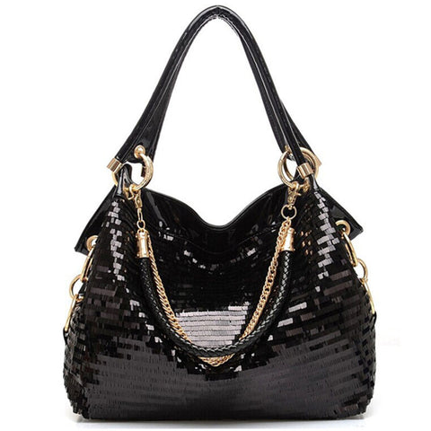 Leather Sequined HandBag