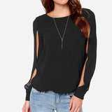 Long Sleeve Casual Loose Chiffon Blouse - 2 colors