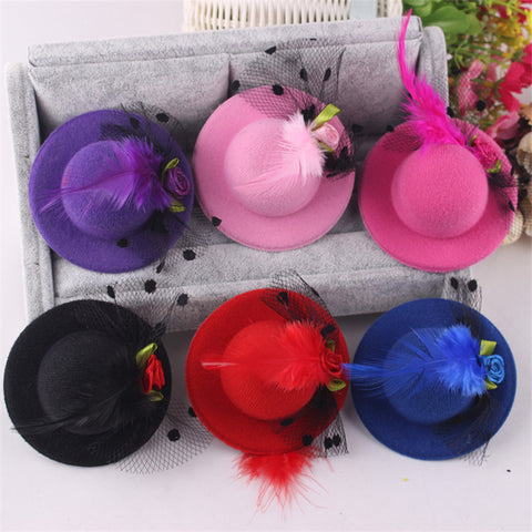 Cute Feathered Flower Hat Hair Barrette - 12 colors