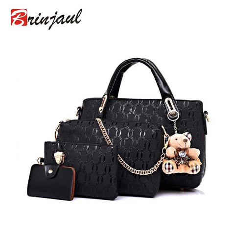 Leather 4 piece Handbag Set - 6 colors