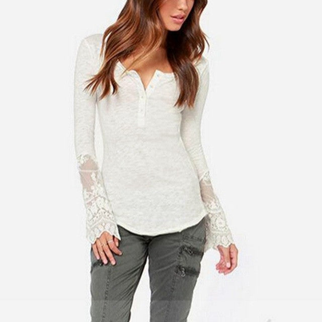 Lace Patchwork Slim Long Sleeve Blouse - White or Black
