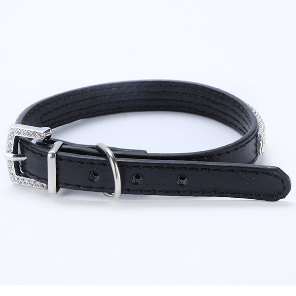 3 Rows Bling Rhinestone Small Pet Leather Buckle Collar - 5 colors
