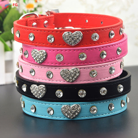 Bling Rhinestone Leather Pet Adjustable Collar with Pendant -  15 choices
