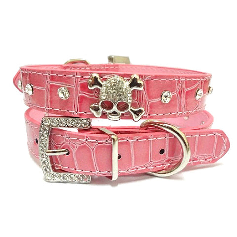 Leather Rhinestone Skull  Pet Collar - 4 Colors