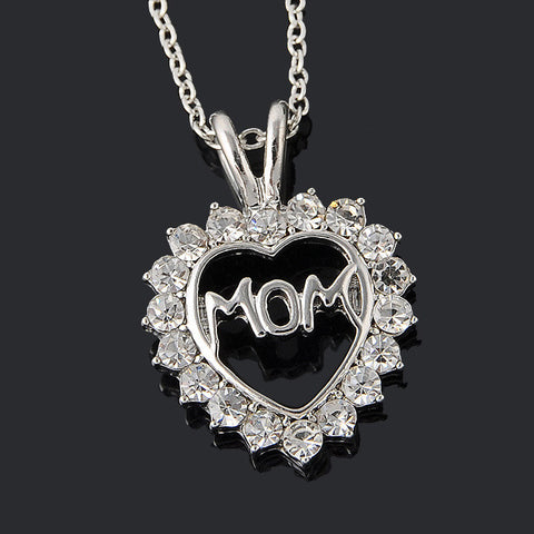 """Mom"" Full Crystal Heart Necklace"