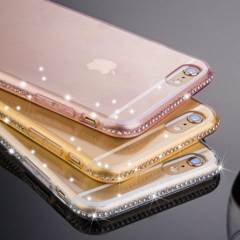 Full Bling Diamond Frame + Slim Clear Back Case Cover For iPhone 7 6S For iPhone 7 Plus 6S 6 Plus