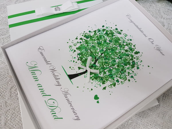 Emerald 20th 55th wedding anniversary card with box or envelope 3005
