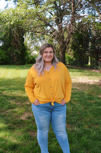 Curvy Button Down Top {Mustard}