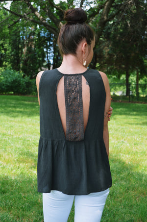 Charcoal Lace Back Tank