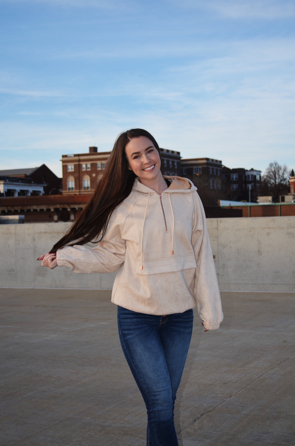 Suede Half Zip {Cream}