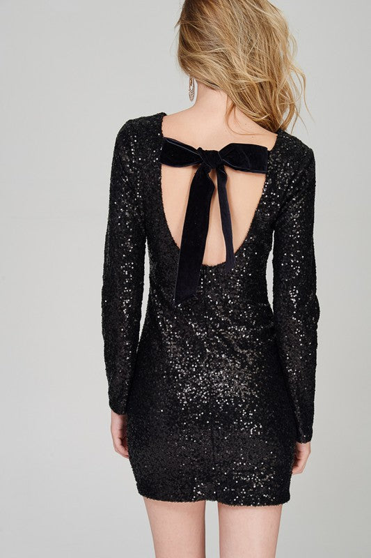 Open Back Black Sequin Dress