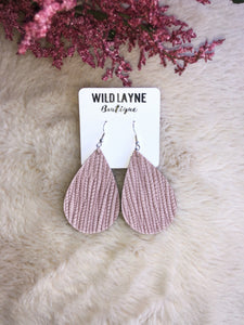 Blush Palm Leaf Teardrop Earrings