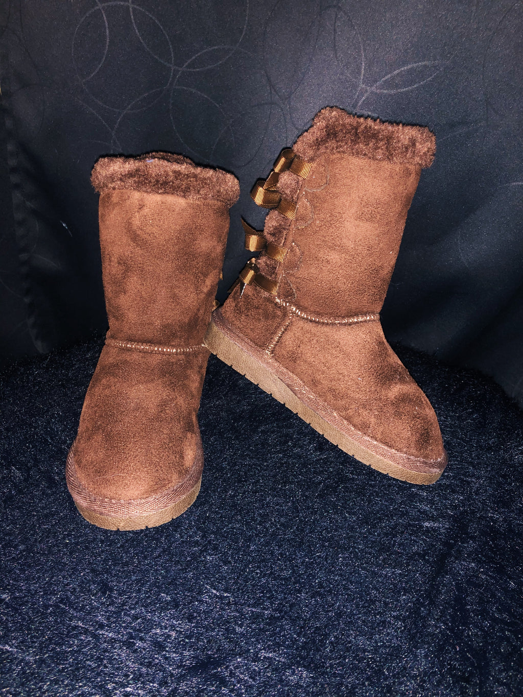 Girls' Brown Tie Fur Boots