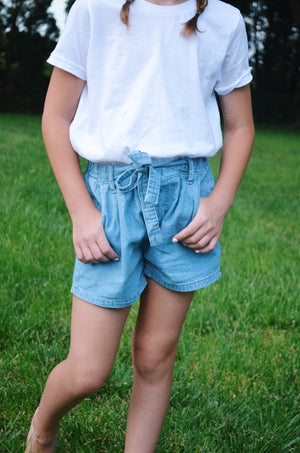 Girl Tie Denim Shorts