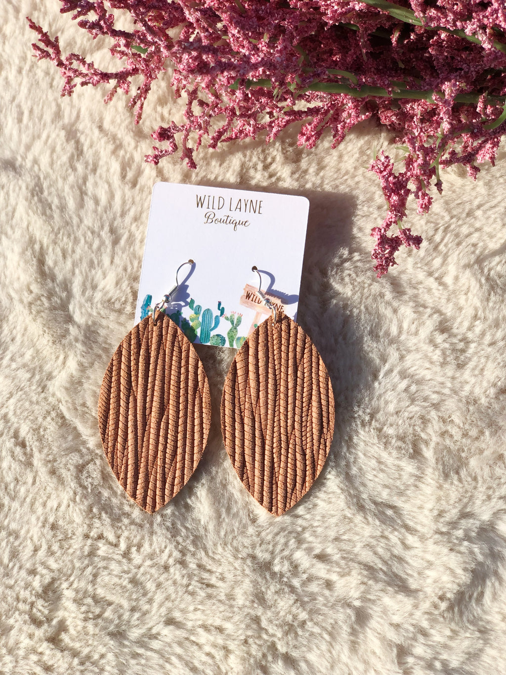 Peach Palm Leaf Earrings