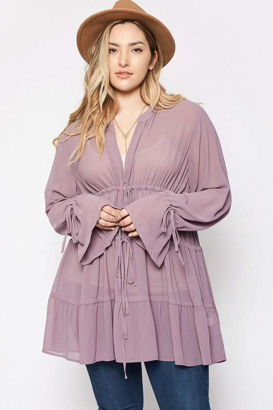 Bell Sleeved Tunic {Mauve}