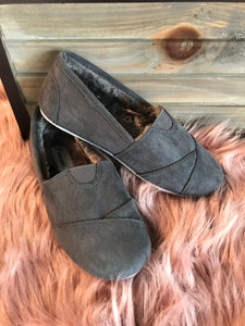 Girls' Gray Suede Flats