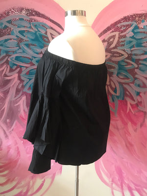 Black Ruffled Off The Shoulder Top
