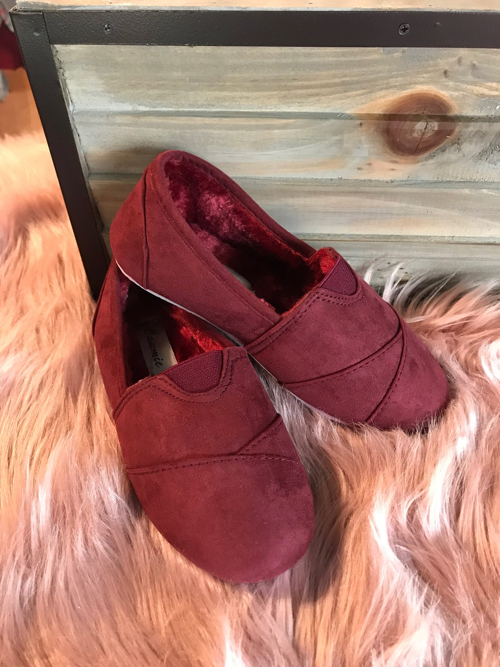 Girls' Burgundy Cozy Suede Flats