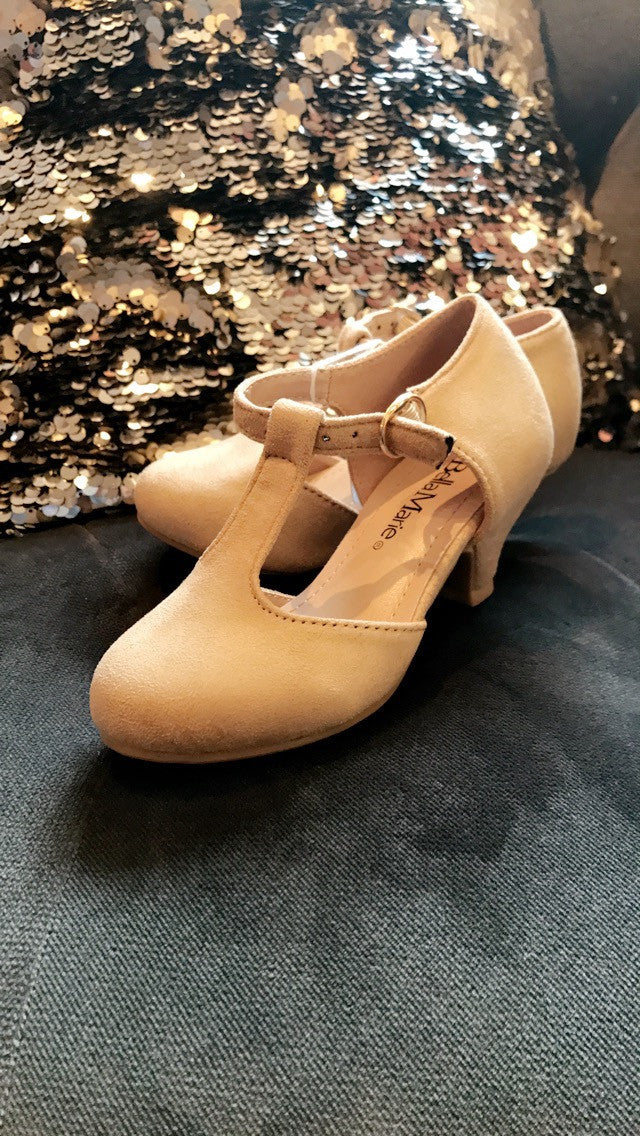 Girls Beige Suede Heel