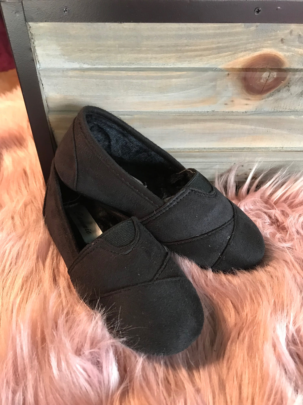 Girls' Black Suede Flats