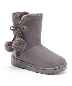 Girls' Gray Fur Boots