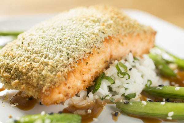 Ginger and Cilantro Crusted Salmon