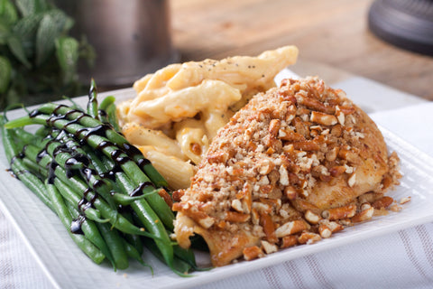 Pretzel Crusted Chicken with Mac & Cheese