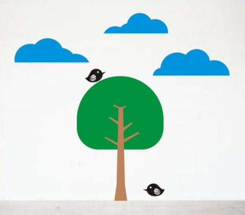 Tree Scene Decal Sticker Wall Clouds Birds Modern Children Kids - ezwalldecals  - vinyl decal - vinyl sticker - decals - stickers - wall decal - jdm decal - vinyl stickers - vinyl decals - 1