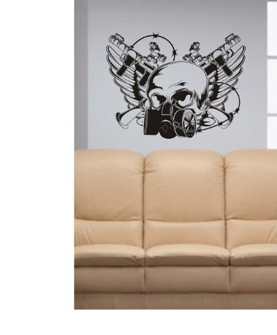 Gasmask Skull Decal Sticker Wall Vinyl Children Cool Guns Nice Wings Nice - ezwalldecals  - vinyl decal - vinyl sticker - decals - stickers - wall decal - jdm decal - vinyl stickers - vinyl decals - 1