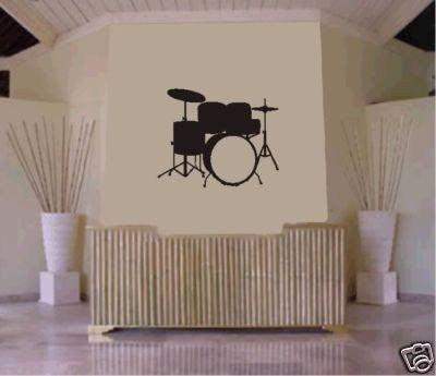 Drum SET Wall Mural Decal Sticker Music Drums Drummer Band Drumstick Percussion - ezwalldecals  - vinyl decal - vinyl sticker - decals - stickers - wall decal - jdm decal - vinyl stickers - vinyl decals - 1