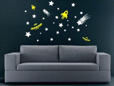 Stars and Spaceships Decal Sticker Wall Space Aliens Child Boy Girl Teen Nursery - ezwalldecals  - vinyl decal - vinyl sticker - decals - stickers - wall decal - jdm decal - vinyl stickers - vinyl decals - 1