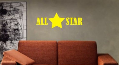 All Star Decal Sticker Wall Kids Sports Room Boy Girl Nursery Teen Child Kid - ezwalldecals  - vinyl decal - vinyl sticker - decals - stickers - wall decal - jdm decal - vinyl stickers - vinyl decals - 1