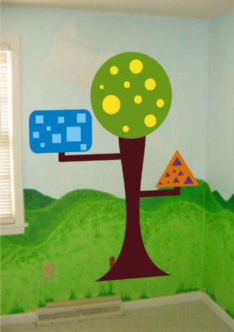 Six Foot Tall Children's Shape Tree Nursery Circle Square Baby Triangle - ezwalldecals  - vinyl decal - vinyl sticker - decals - stickers - wall decal - jdm decal - vinyl stickers - vinyl decals - 1
