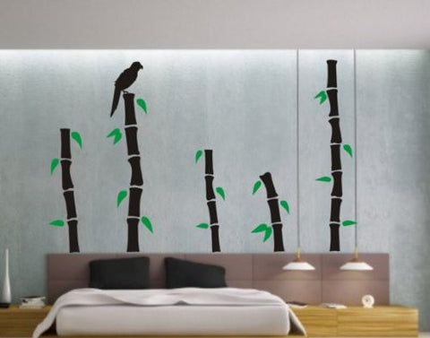 Bamboo and Leafs Decal Sticker Wall Boy Girl Bedroom Plants Nature Nursery - ezwalldecals vinyl decal - vinyl sticker - decals - stickers - wall decal - jdm decal - vinyl stickers - vinyl decals - 1