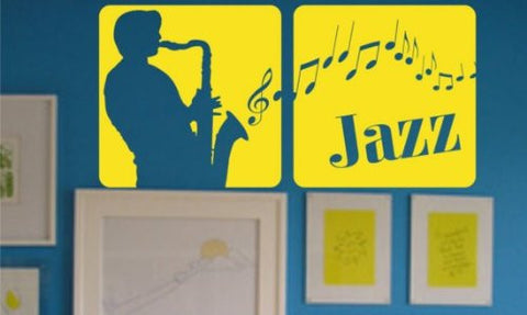 Jazz Panels Wall Decal Sticker Art Graphic Music Musician Club Instrument Play - ezwalldecals  - vinyl decal - vinyl sticker - decals - stickers - wall decal - jdm decal - vinyl stickers - vinyl decals - 1