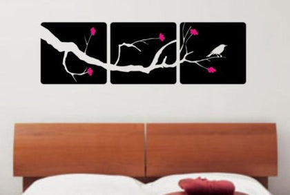 3 Panel Cherry Blossom Tree and Bird Decal Sticker Wall Modern Beautiful Boy - ezwalldecals  - vinyl decal - vinyl sticker - decals - stickers - wall decal - jdm decal - vinyl stickers - vinyl decals - 1