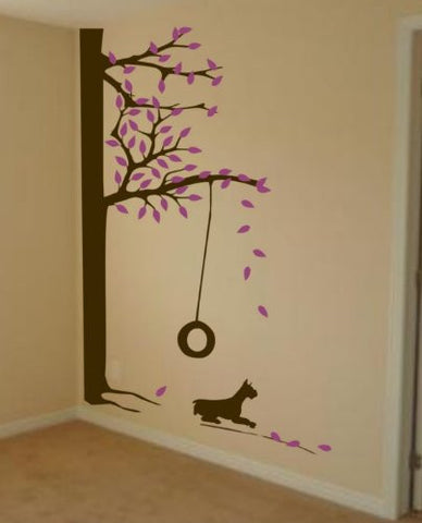 Huge Tree With Swing and Dog Wall Decal Sticker Mural Child Leaves Baby - ezwalldecals vinyl decal - vinyl sticker - decals - stickers - wall decal - jdm decal - vinyl stickers - vinyl decals - 1