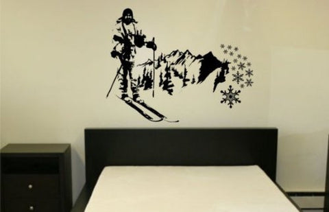 Mountain Skier Wall Decal Sticker Mural Snow Ski Cross Country Mountains Art - ezwalldecals  - vinyl decal - vinyl sticker - decals - stickers - wall decal - jdm decal - vinyl stickers - vinyl decals - 1