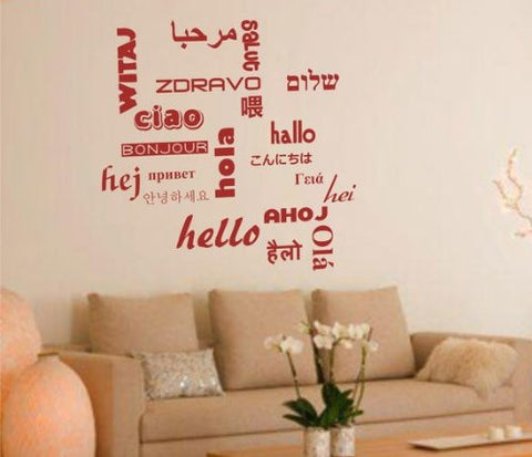 Hello In 20 Languages Decal Sticker Wall Art Hola Ciao Hei Home Decor Modern - ezwalldecals  - vinyl decal - vinyl sticker - decals - stickers - wall decal - jdm decal - vinyl stickers - vinyl decals - 1