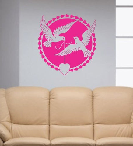 Love Doves Decal Sticker Wall Birds Heart Beautiful Nature Animal Children Nice - ezwalldecals  - vinyl decal - vinyl sticker - decals - stickers - wall decal - jdm decal - vinyl stickers - vinyl decals - 1