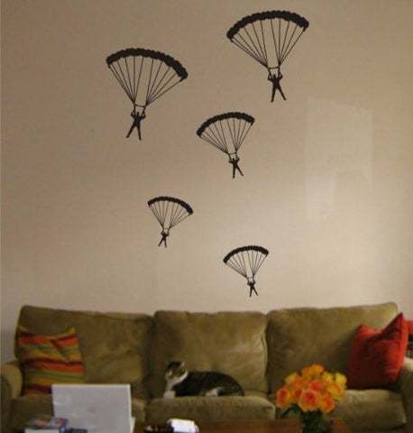 5 Parachuters Decal Vinyl Wall Sticker Cool Amazing Children Boy Girl - ezwalldecals  - vinyl decal - vinyl sticker - decals - stickers - wall decal - jdm decal - vinyl stickers - vinyl decals - 1