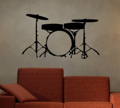 Drumset Decal Sticker Wall Boy Girl Teen Child Music Instrument Drums - ezwalldecals  - vinyl decal - vinyl sticker - decals - stickers - wall decal - jdm decal - vinyl stickers - vinyl decals - 1
